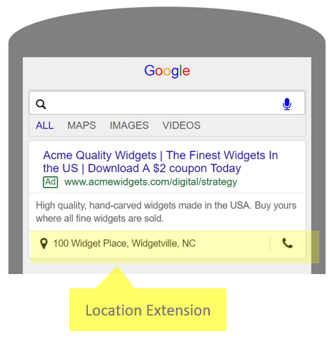 What Location Extension Looks Like in Mobile Ads
