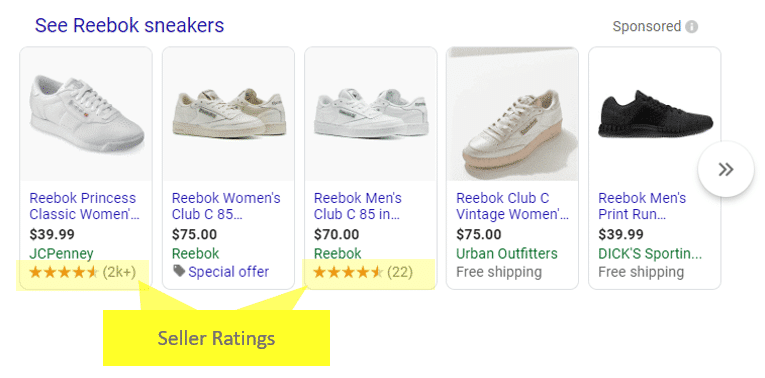 Seller Ratings Displayed on Search Result Page