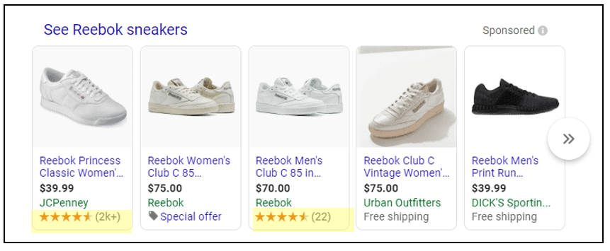shopping listing example