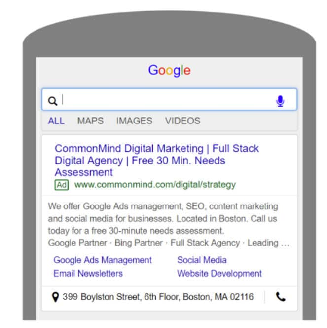 sample mobile search ad