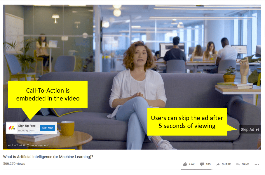 example of a skippable youtube ad