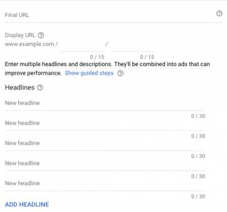Add headline to Google responsive search ad