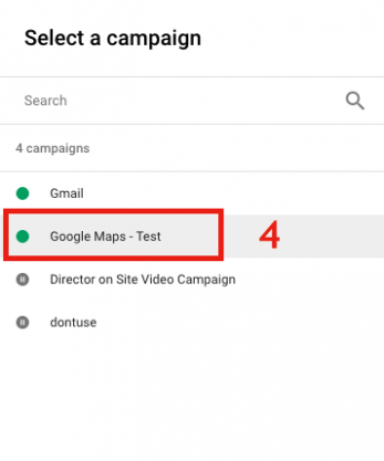 Choose an Active Campaign in Google Maps