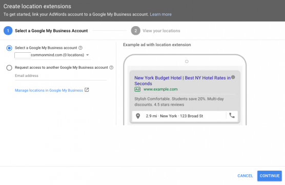 Connect Google My Business and Location Extension