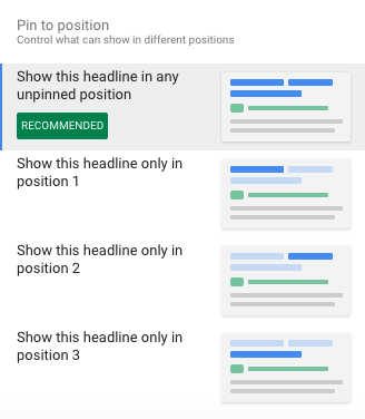 Pin headline to position in responsive ad set up