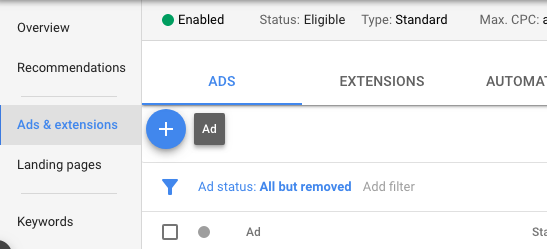 Responsive search ads settings