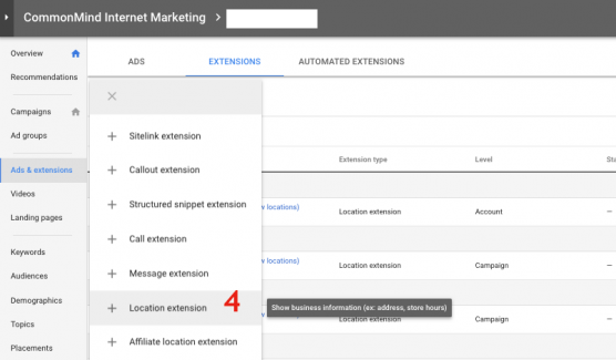 Selecting Location Extension in Ads
